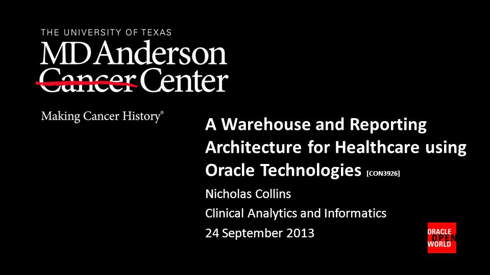 A Warehouse and Reporting Architecture for Healthcare using Oracle Technologies [CON3926]
